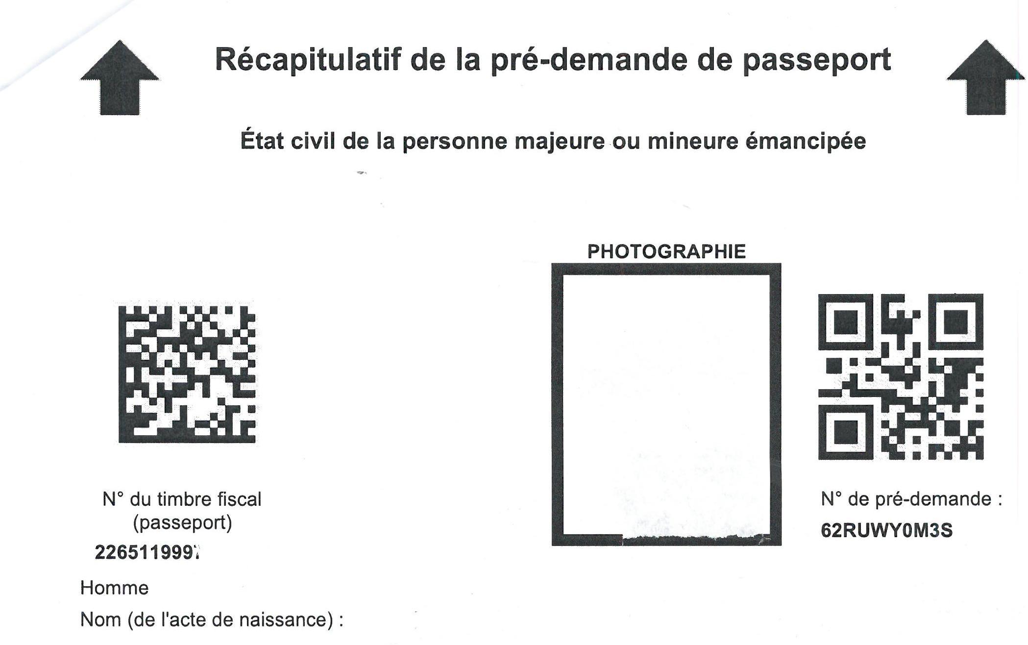 prédemande de passeport